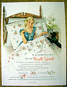 1956 Wamsutta Supercale Mills W/woman Sitting Up In Bed