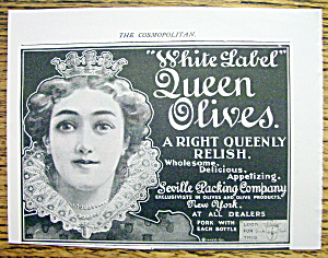 Vintage Ad: 1899 White Label Queen Olives