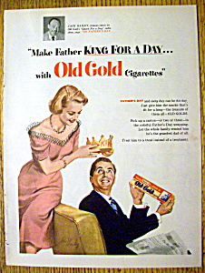 1952 Old Gold Cigarettes W/ Woman Putting Crown On Man