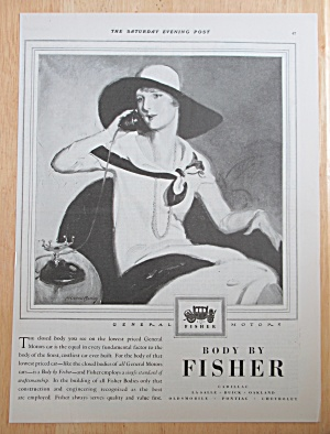 1928 Body By Fisher With Woman Talking On The Telephone