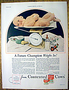 1929 Carnation Milk with Baby Being Weighed On Scale (Image1)