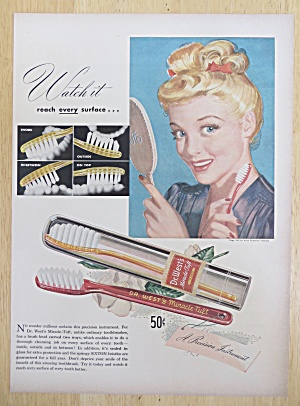 1947 Dr. West Toothbrushes with Woman Smiling in Mirror (Image1)