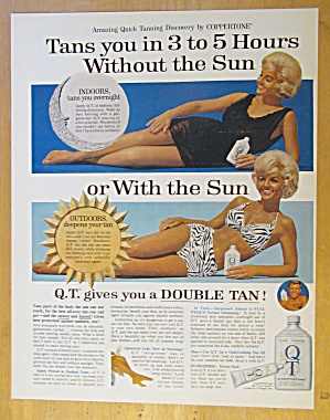 1965 Coppertone Q. T. Suntan Lotion with Lovely Woman  (Image1)