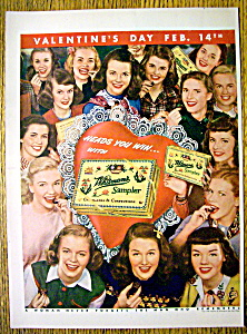 1947 Whitman Sampler Chocolates With Women & Candy