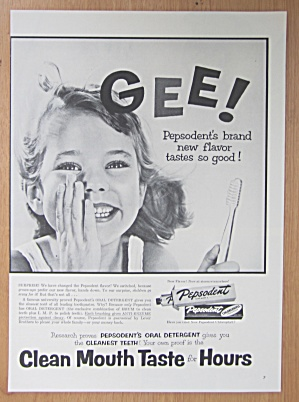 1954 Pepsodent Toothpaste with Little Girl Smiling  (Image1)