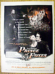 1949 Prince Of Foxes With Tyrone Power & Wanda Hendrix