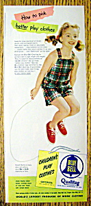 1951 Blue Bell Children's Play Clothes With Girl & Rope