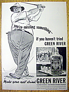 1937 Green River Whiskey W/man Swinging & Missing Ball