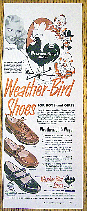 Vintage Ad: 1951 Weather Bird Shoes with Mary Hartline (Image1)