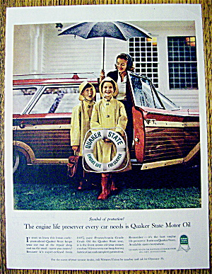 1961 Quaker State Motor Oil With Woman & 2 Children