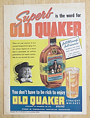 1938 Old Quaker Whiskey With Bottle Of Whiskey & Glass