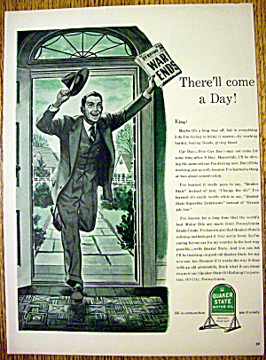 1944 Quaker State Motor Oil with Man with Newspaper (Image1)