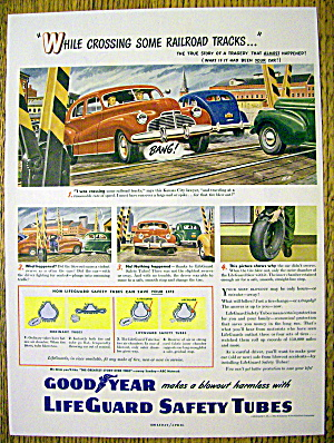 1949 Goodyear Life Guard Safety Tubes W/ Car & Flat