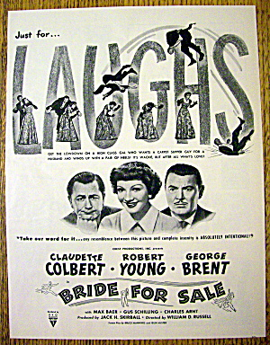 1949 Bride For Sale W/robert Young & Claudette Colbert