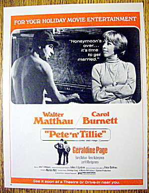 1972 Pete And Tillie W/ Carol Burnett & Walter Matthau