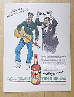 1938 Hiram Walker's Ten High Whiskey W/ One Man Band
