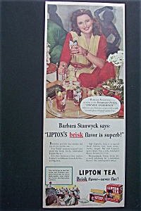 Vintage Ad: 1944 Lipton Tea With Barbara Stanwyck