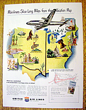 1949 United Air Lines With Many Different Places