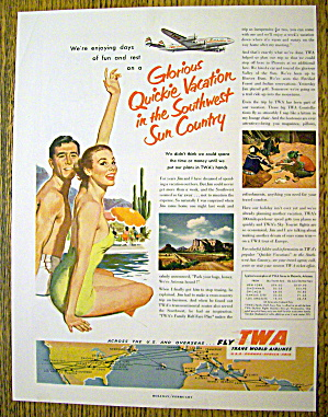 1953 Trans World Airlines (TWA) w/ Man & Woman By Pool (Image1)
