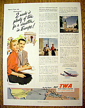 1953 Trans World Airlines Twa With Man & Woman