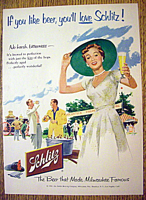 1954 Schlitz Beer with Woman Holding Glass Of Beer (Image1)
