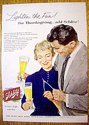 1956 Schlitz Beer With Man & Woman Holding Wish Bone