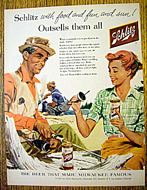 1956 Schlitz Beer With Man & Woman Fishing