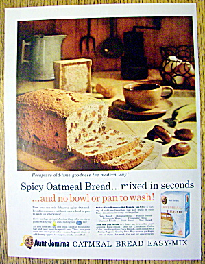 1959 Aunt Jemima Oatmeal Bread Mix With Oatmeal Bread
