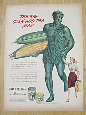 1945 Green Giant Peas & Niblets W The Jolly Green Giant