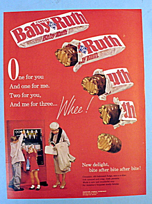 1961 Baby Ruth Candy Bar W/ Woman & 2 Children