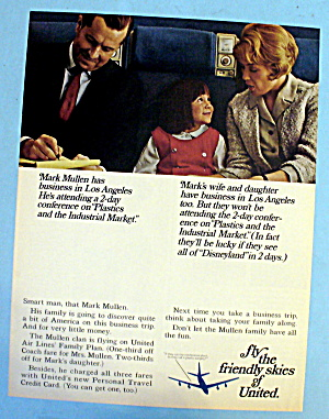1966 United Airlines W/ A Family On The Plane