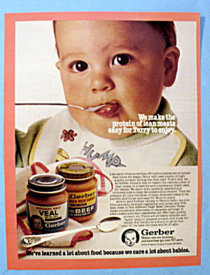 1983 Gerber Strained Veal W/ Baby Terry Eating