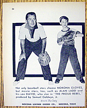 1958 Nokona Baseball Gloves W/alan Ladd & Son, David