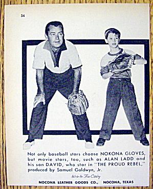1958 Nokona Baseball Gloves w/Alan Ladd & Son, David (Image1)