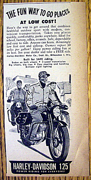 1949 Harley Davidson 125 Motorcycle with Man Riding (Image1)