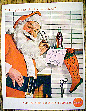 1957 Coca Cola (Coke) with Santa Claus By Fireplace (Image1)
