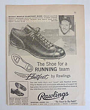 1959 Rawlings Fleetfoot With Baseball's Mickey Mantle