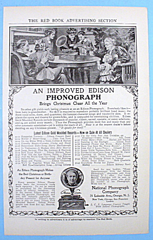 1905 Edison Phonograph With Family At Christmas