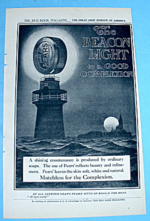 1908 Pears Soap W/ Lighthouse And Water