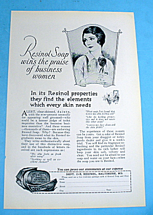 1927 Resinol Soap W/ Lovely Woman Holding Phone