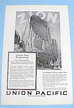 1927 Union Pacific With Zion National Park