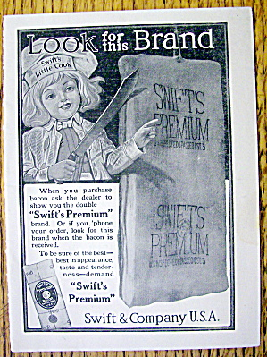 1910 Swift Premium Bacon With Swift's Little Cook