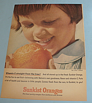 1964 Sunkist Oranges With Girl Peeling Orange