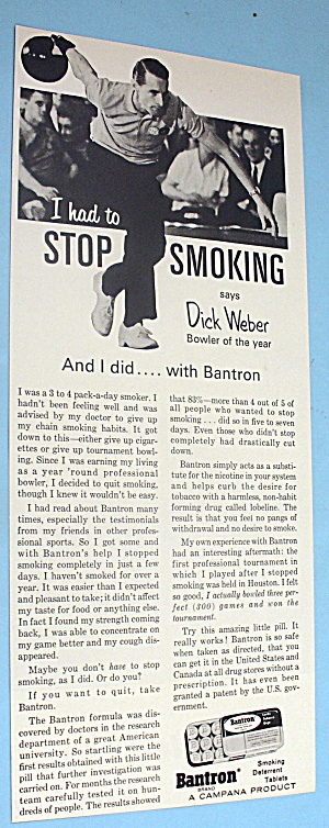 1966 Bantron Smoking Deterrent Tablets W/ Dick Weber