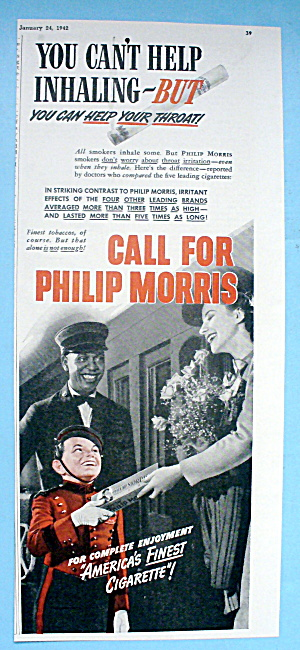 1942 Philip Morris Cigarettes W/bellboy, Woman & Porter