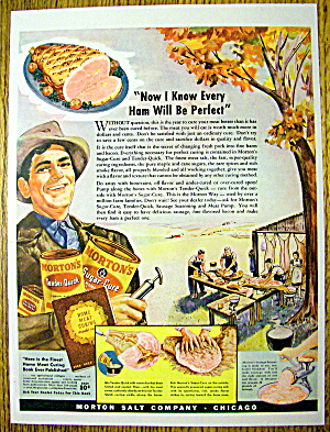 1942 Morton's Sugar Cure Ham With Man Holding Cans