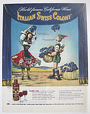 1946 Italian Swiss Colony Wine W/people Picking Grapes