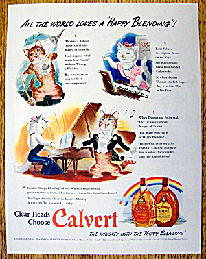 1942 Calvert Whiskey With Thomas & Felice The Cats
