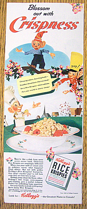 1942 Kellogg's Rice Krispies With Snap, Crackle & Pop