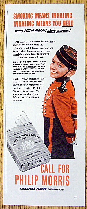 1942 Philip Morris Cigarette With Philip Morris Bellboy